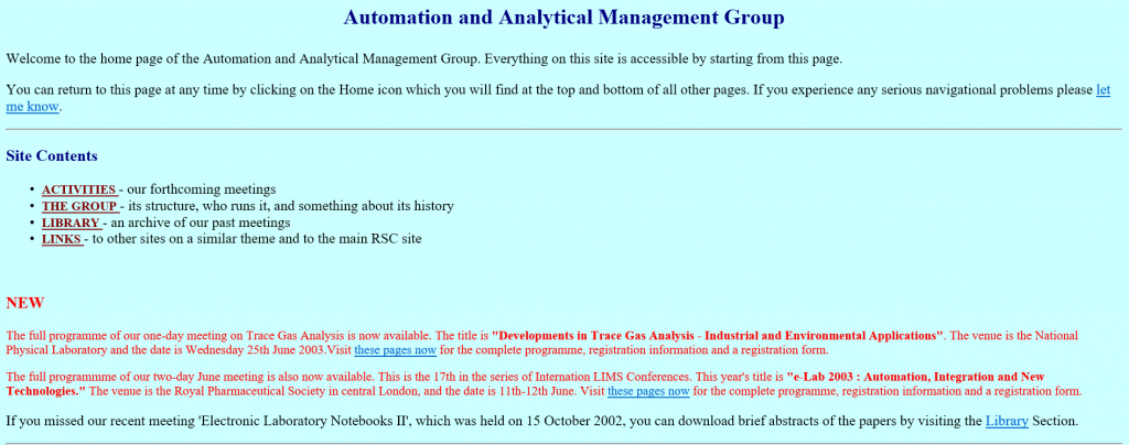 The first AAMG website as it appeared in 2002.