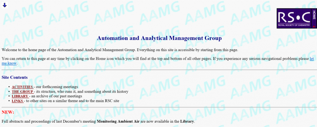 The AAMG website in 2006, still text-based but with added graphics.