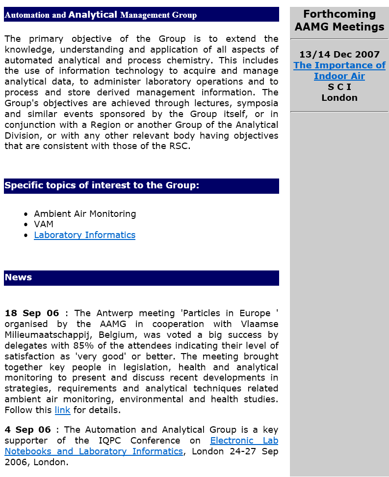 By 2007 the AAMG website  had moved away from simple text to a dual column approach