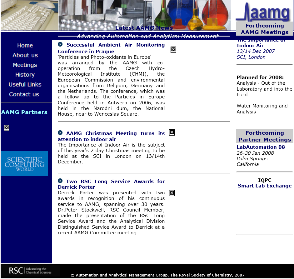 Later in 2007 the AAMG website adopted three columns, a new typeface and use of photographs.